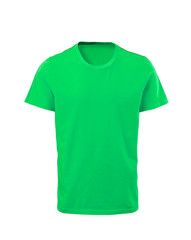Green male t-shirt isolated on white