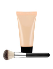 liquid makeup foundation in tube and brush isolated on white