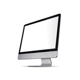 Computer with a transparent screen, vector blank