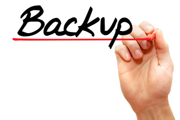 Hand writing Backup with marker, business concept