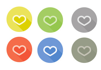 Collection of heart symbol rounded icon with shadow different