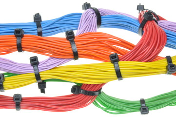 Multicolored electrical cables isolated on white background