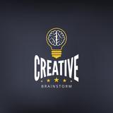 Logo Brain Lamp Bulb Retro Vintage Label design vector template - 80473395