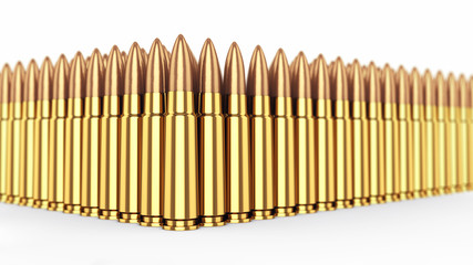 Bullets on white background , Ammunition