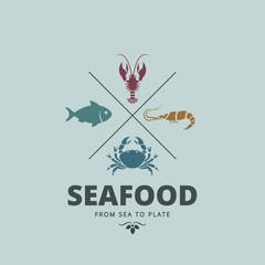 Logo Seafood Retro Vintage Label design. Crab, Lobster, Fish