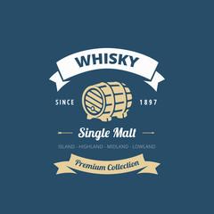 Logo Whisky Retro Vintage Label design vector Hipster style