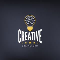 Logo Brain Lamp Bulb Retro Vintage Label design vector template