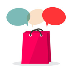 Vector Shopping Bag with Empty Speech Bubbles