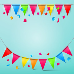 Bunting Confetti and Flags with Ribbons