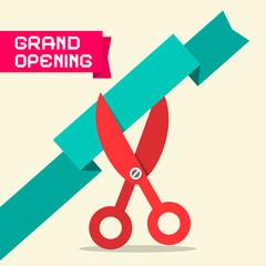 Grand Opening Retro Flat Design Vector Illustration