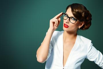 elegant suit and glasses