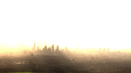 Aerial view of the London skyline on a hazy autumn morning.