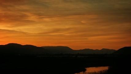 Beautiful dramatic landscape at sunset