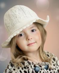 Beautiful girl portrait.Little fashion kid closeup.