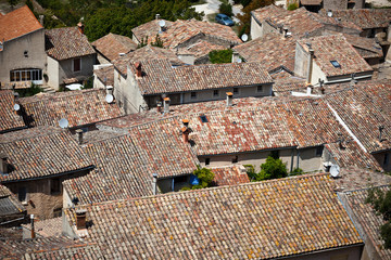 French small town view from above