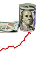 stack of hundred dollar bills U.S. on white background
