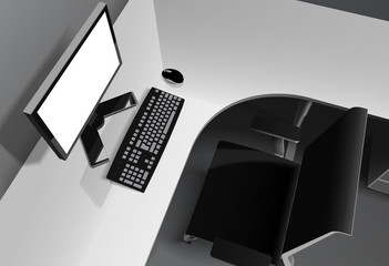 Modern office with computer on desk and black chair