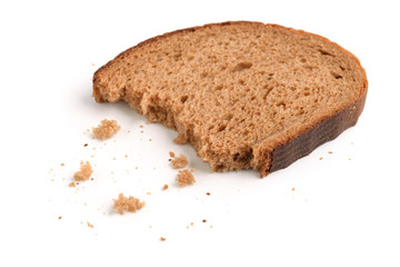 Slice of rye bread and breadcrumbs