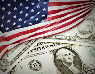 USA finance, flag on cash