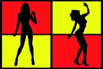 two sexy women silhouette on colored background