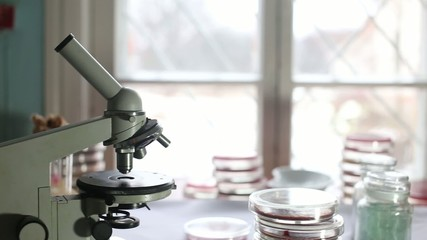 Microscope in a medical laboratory at the hospital
