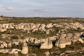 View on evening Cappadocia valley in spring