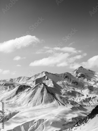 Black and white snowy mountains in nice sun day - 80478349