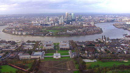 Spectacular panoramic aerial view above the Isle of Dogs in London, England