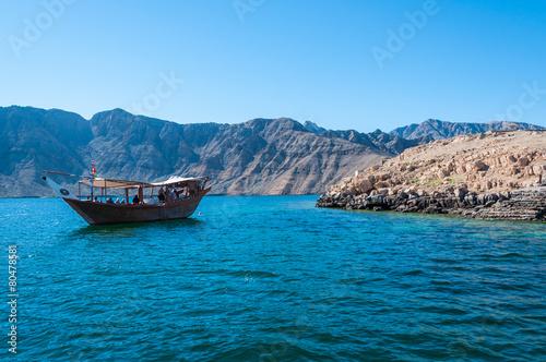 Plexiglas Midden Oosten Dhow in Gulf of Oman, Musandam, Oman