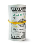 Twisted and tapered rubber band hundred-dollar bills poster