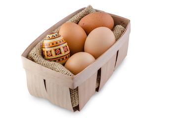 Ukrainian easter egg in basket