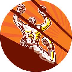 Amateur Boxer Winning Circle Cartoon