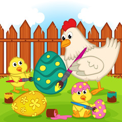 chicken and chicks painting easter egg