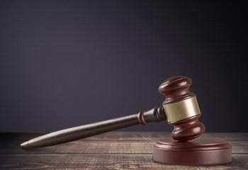 Court. Gavel isolated on white background