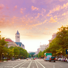 Pennsylvania Avenue sunset in Washington DC