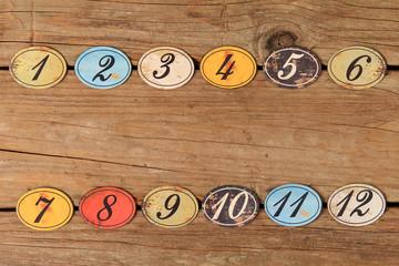 Vintage number buttons
