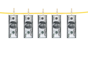 money laundering and dry after wash hang on clothespins isolated