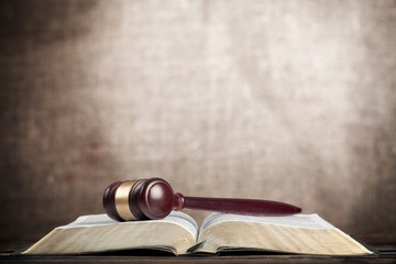 Law. Gavel on Law Book