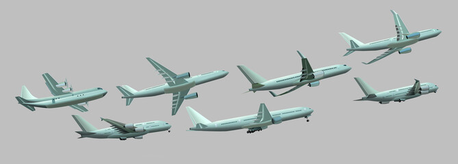 Different planes on a gray background