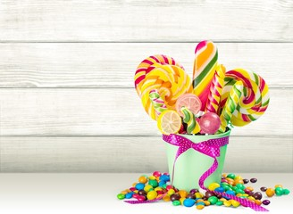 Sweet. Colorful lollipops isolated on white background