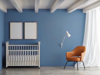 Baby room, mock up poster on blue wall, 3d illustration