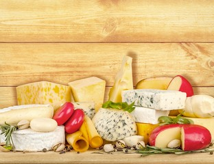 Appetizer. Various types of cheese composition