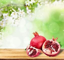Organic. Ripe juicy pomegranates, food