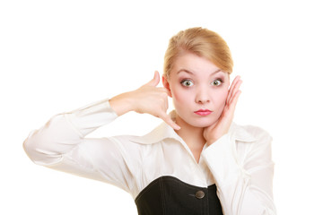 Phone. Worried businesswoman making call me gesture