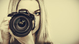 Fototapeta Photographer girl shooting images