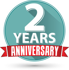 Flat design 2 years anniversary label with red ribbon, vector il