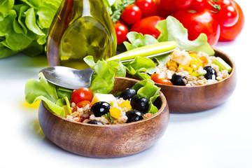 spelt salad on white background