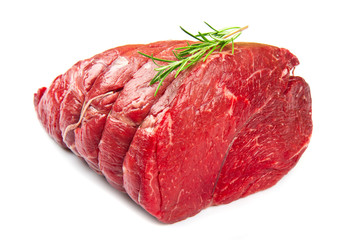 red huge meat on white