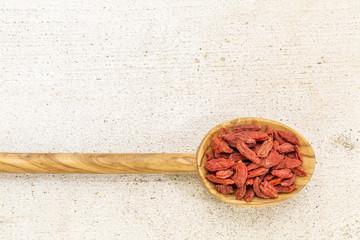 spoon of dried goji berries