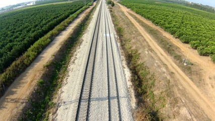 aerial view of train rail , from high point of view to close up